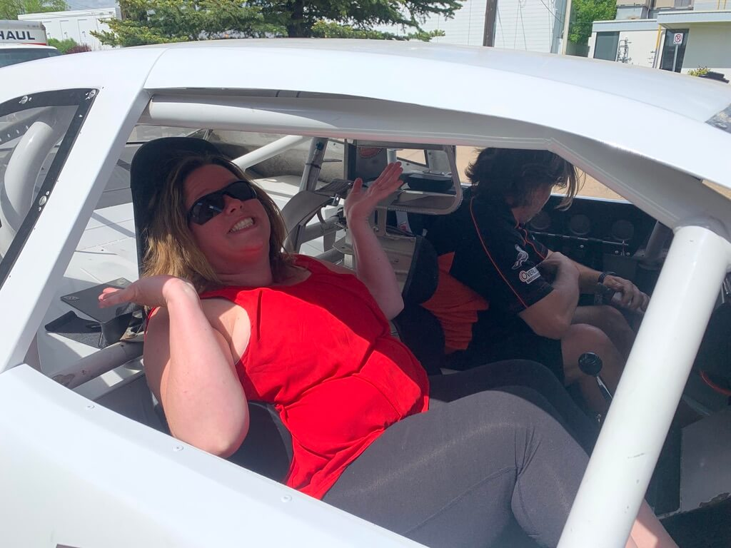 Mrs. Arsenault took her first ride in a race car!